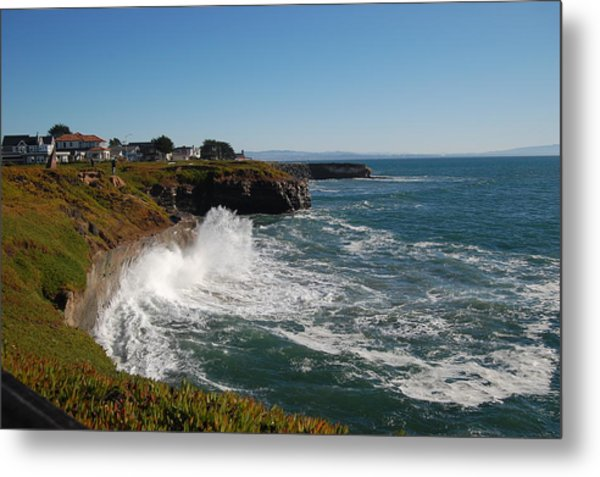 Ocean Spray In Santa Cruz Metal Print