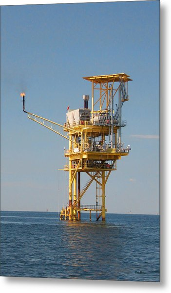 Offshore Gas Platform Metal Print by Bill Perry