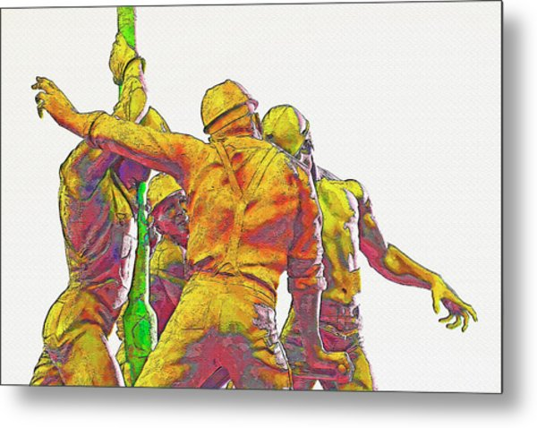 Oil Rig Workers 5 Metal Print by Steve Ohlsen