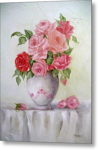 Oil Vase Rose Metal Print
