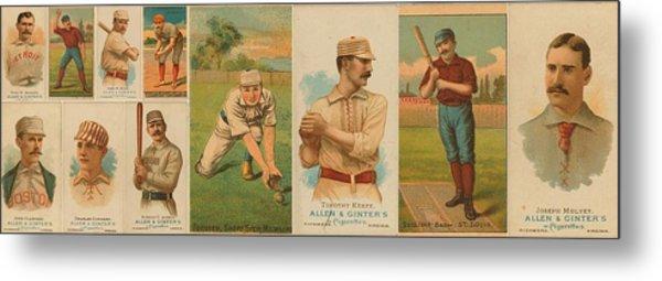 Old Baseball Cards Collage Metal Print