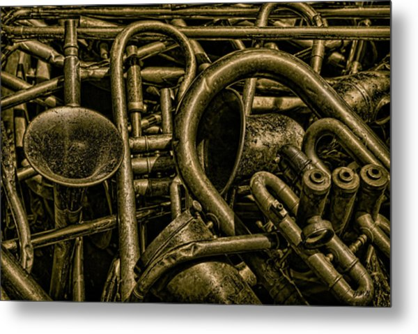 Old Brass Musical Instruments Metal Print
