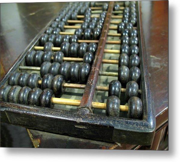 Old Chinese Abacus Metal Print