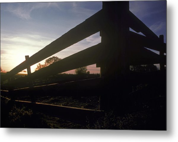 Old Corral At Sunset Metal Print by Charlie Osborn