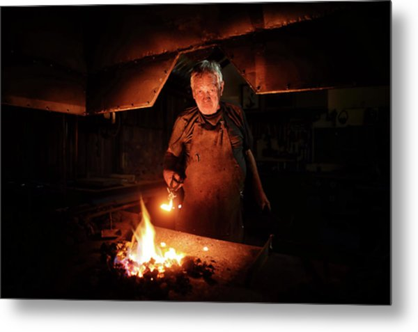 Old-fashioned Blacksmith Heating Iron Metal Print