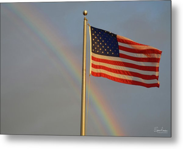 Old Glory And Rainbow Metal Print