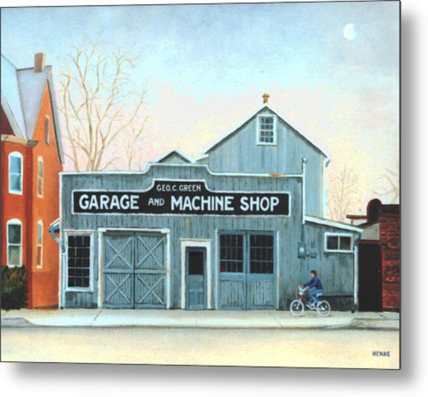 Metal Print featuring the painting Old Machine Shop by Robert Henne