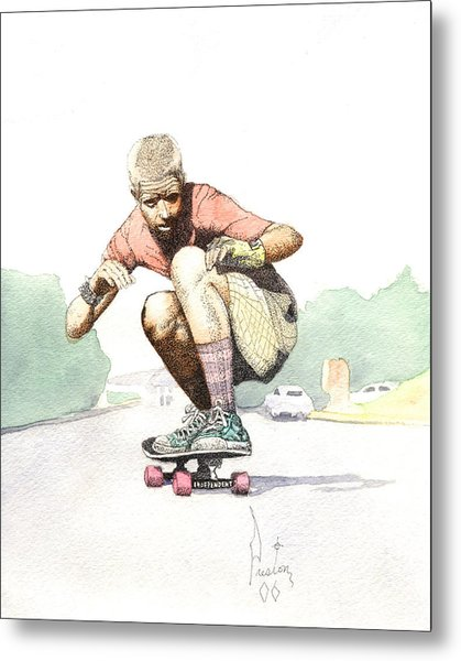 Old School Skater Metal Print by Preston Shupp