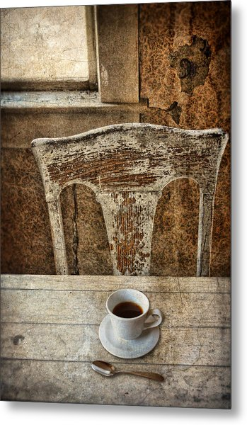 Old Table And Chair With Coffee Metal Print