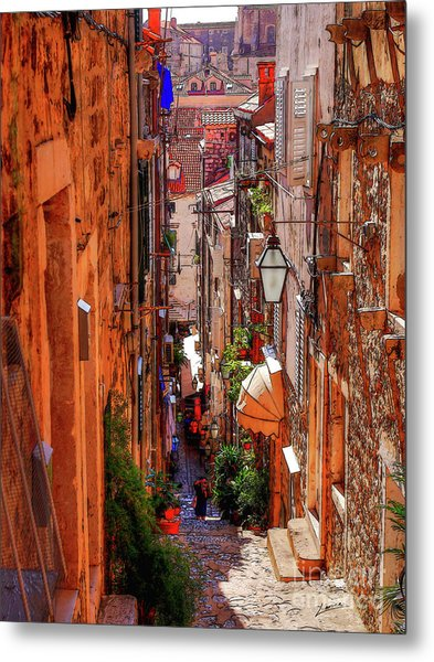 Old Town Dubrovniks Inner Passages Metal Print