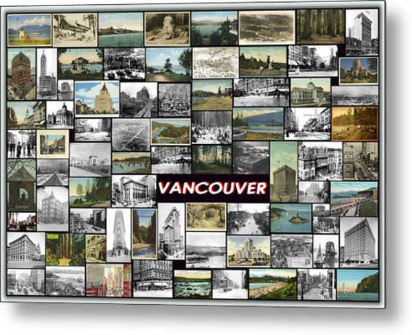 Old Vancouver Collage Metal Print by Janos Kovac