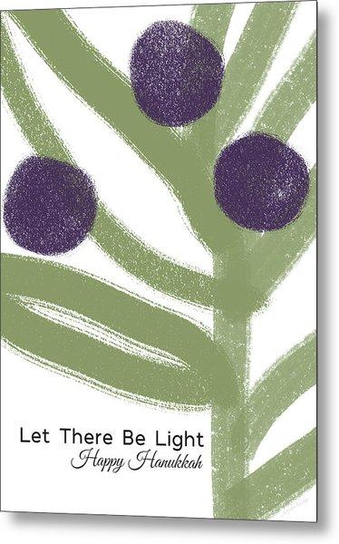 Olive Branch Hanukkah Card- Art By Linda Woods Metal Print