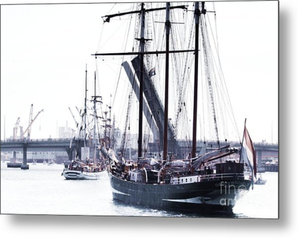 Metal Print featuring the photograph Oosterschelde Leaving Port by Stephen Mitchell