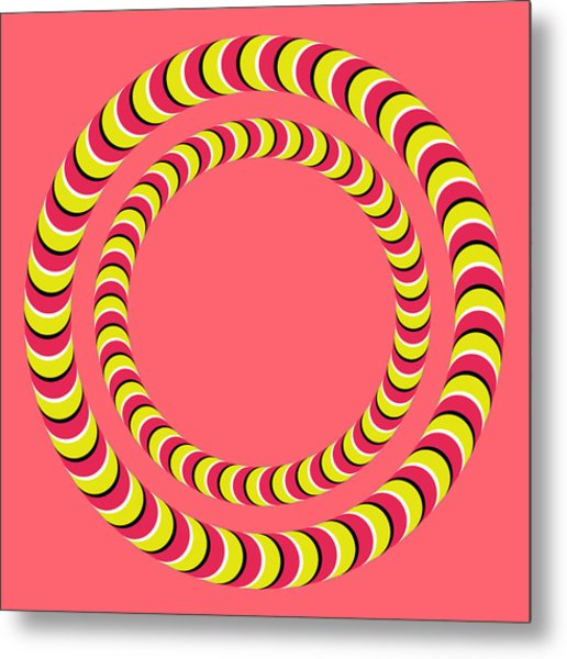 Optical Illusion Circle In Circle Metal Print