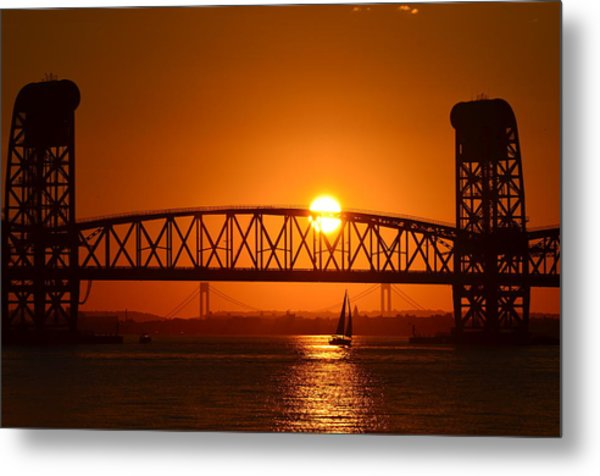 Orange Sunset Brooklyn Bridges Sailboat Metal Print