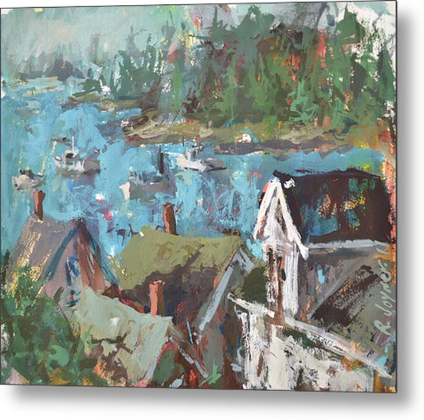 Original Modern Abstract Maine Landscape Painting Metal Print
