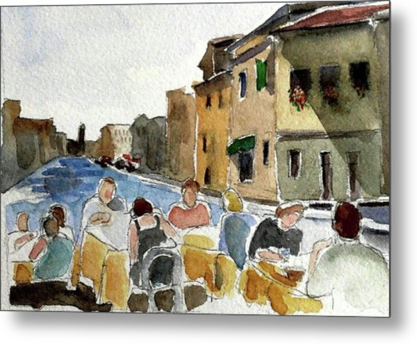 Outdoor Lunch Metal Print by Janet Butler