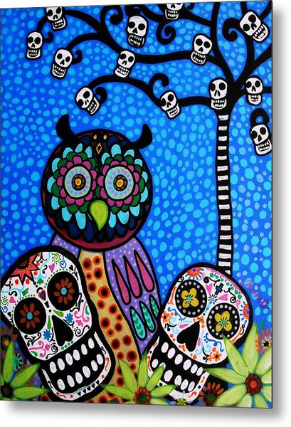 Owl And Sugar Day Of The Dead Metal Print
