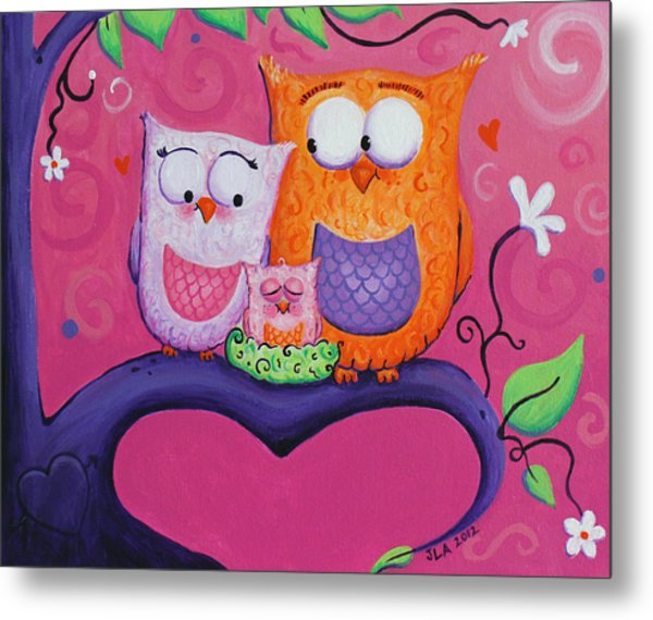 Owl Family Metal Print by Jennifer Alvarez