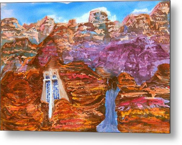 Painted Canyon Church Metal Print by Margaret G Calenda