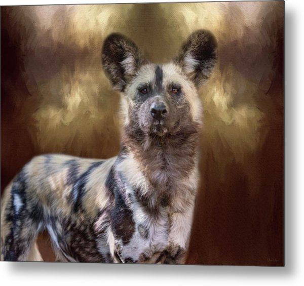 Painted Dog Portrait II Metal Print
