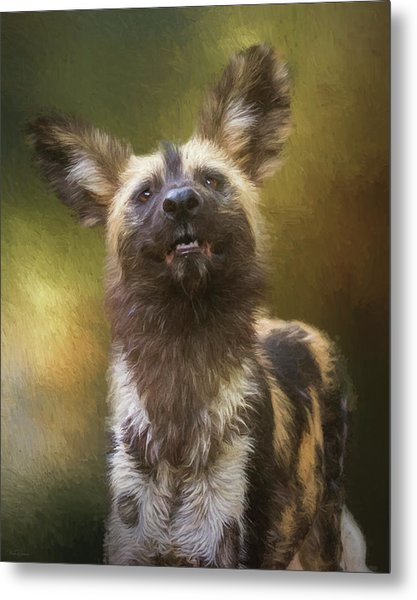 Painted Dog Portrait Metal Print