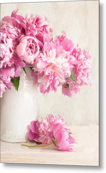 Painting Of Pink Peonies In Vase/digital Painting   Metal Print
