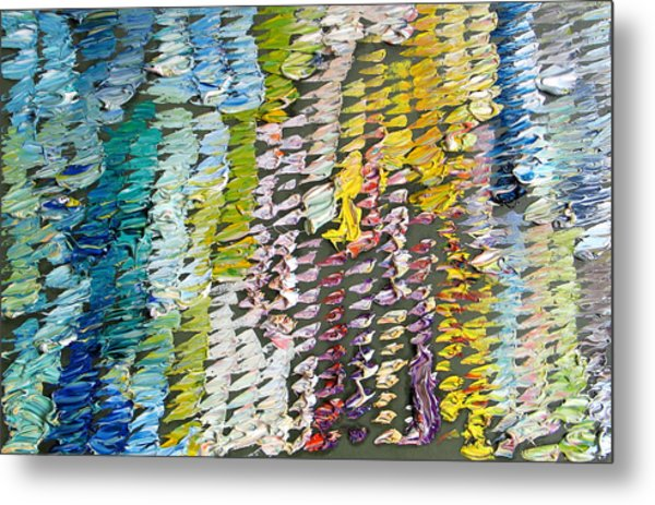 Palette. Colorful Painter Palette. Exhausted Paint And Abstract Painting. Metal Print by Vitali Komarov