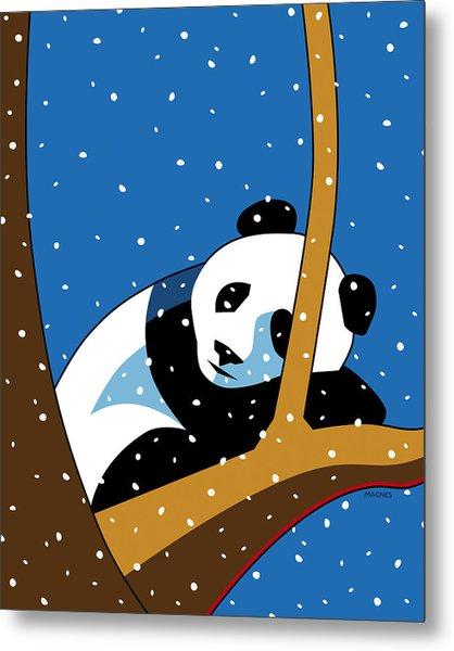 Panda At Peace Metal Print by Ron Magnes