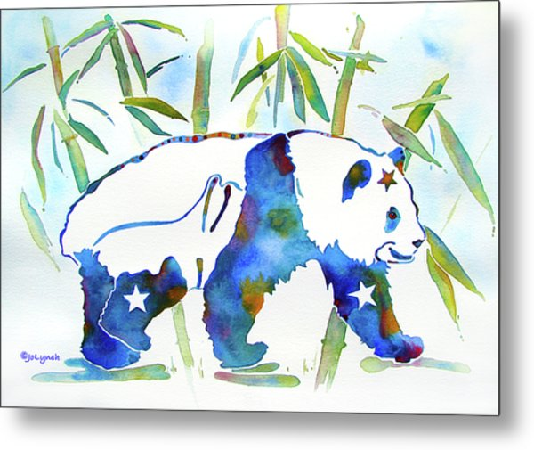 Panda Bear With Stars In Blue Metal Print