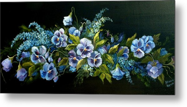 Pansies In Blue On Black Metal Print
