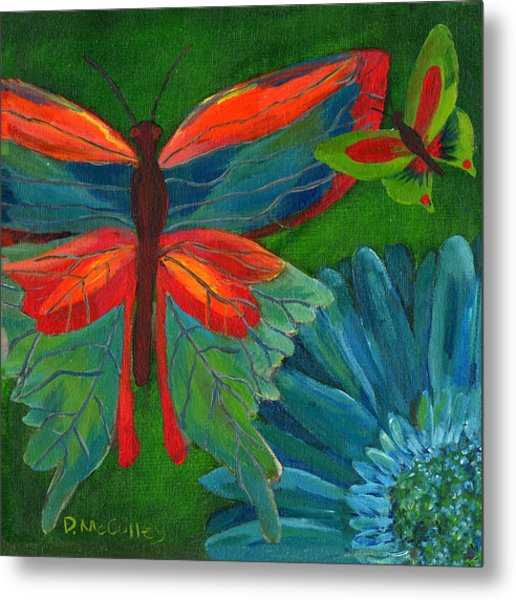 Papillon Vert - Green Butterfly Metal Print by Debbie McCulley