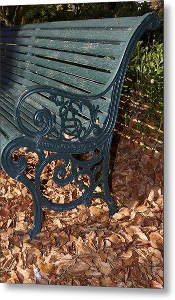 Park Bench In Autumn Metal Print by Geoff Bryant