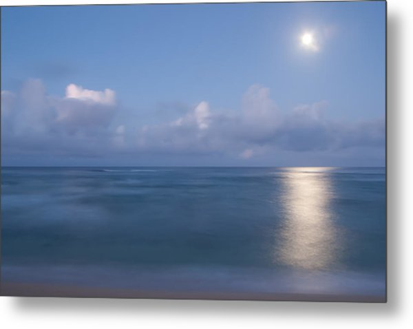 Pastel Moonset Metal Print