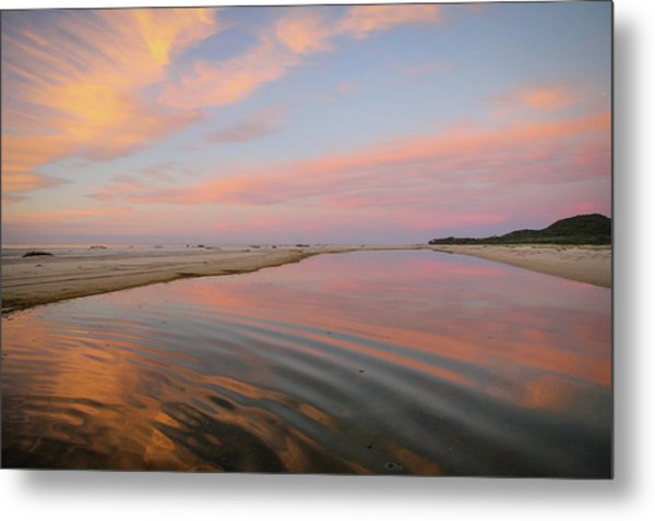Pastel Skies And Beach Lagoon Reflections Metal Print