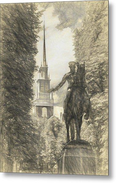 Paul Revere Rides Sketch Metal Print