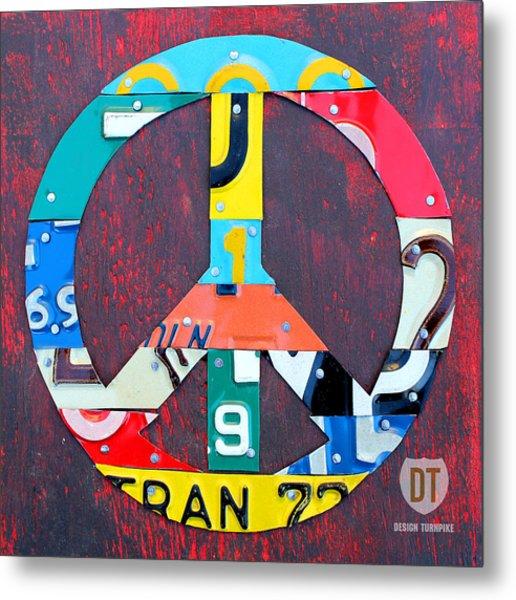 Peace License Plate Art Metal Print