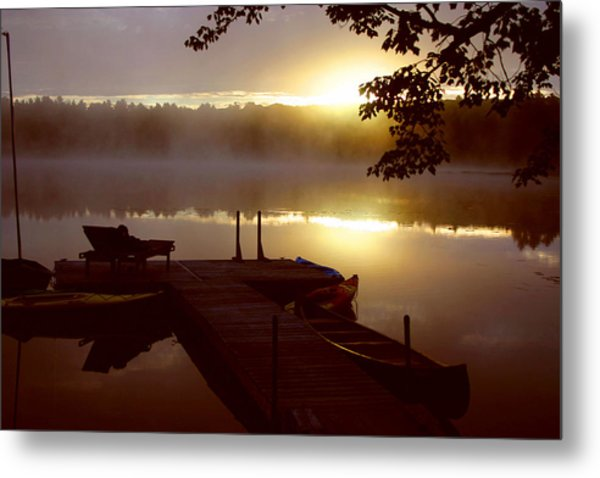 Peace On Lake Metal Print by Dennis Curry