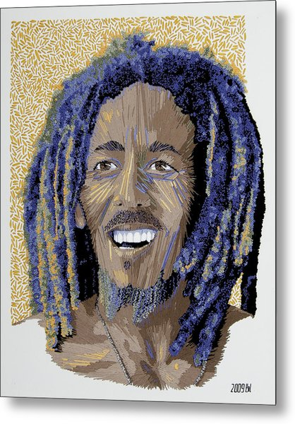 Peace Portrait One Bob Marley Metal Print by Barbara Lugge