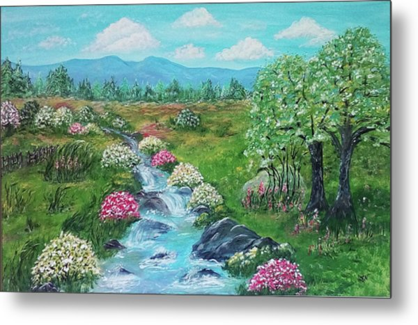 Metal Print featuring the painting Peaceful Meadow by Sonya Nancy Capling-Bacle