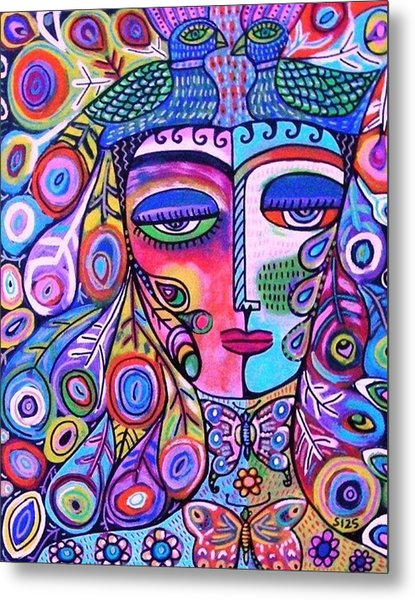 Peacock Pink Butterfly Goddess Metal Print