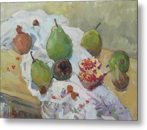 Pears Figs And Young Pomegranates Metal Print