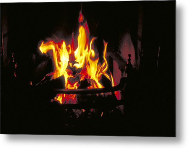 Peat Fire In Ireland Metal Print by Carl Purcell
