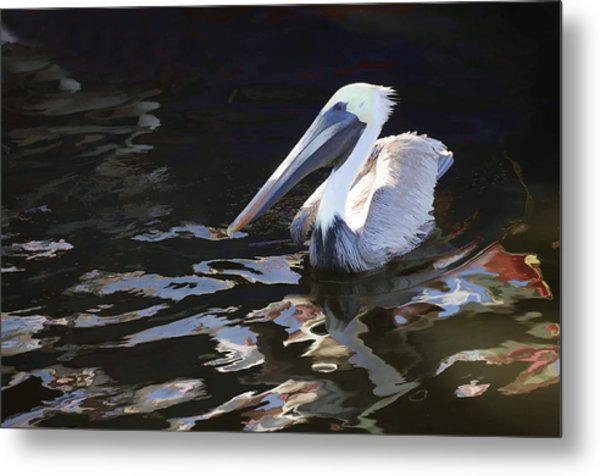 Pelican II Oil Painting Metal Print