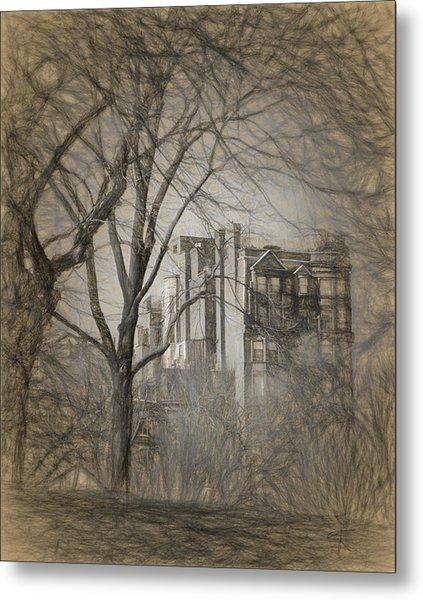 Pencil Sketch Of Beacon Hill Metal Print
