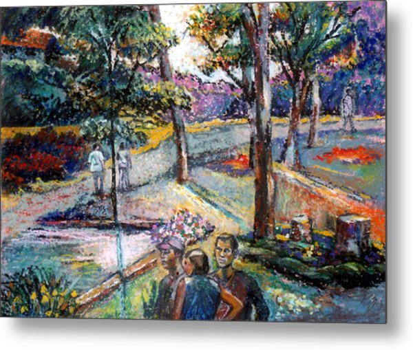 People In Landscape Metal Print