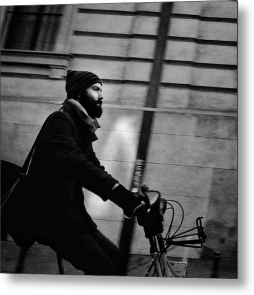 #people #man #beard #hood #winter #bike Metal Print