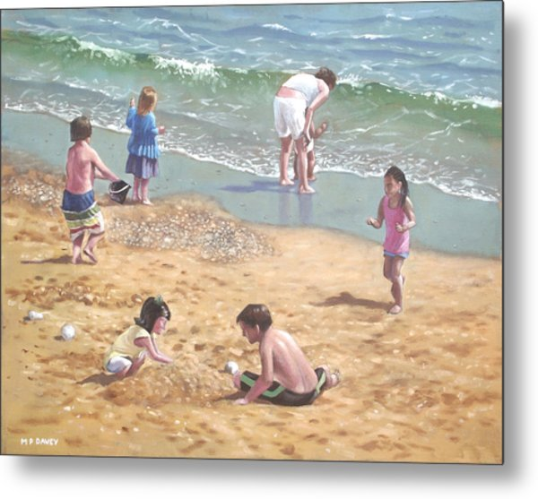 people on Bournemouth beach kids in sand Metal Print