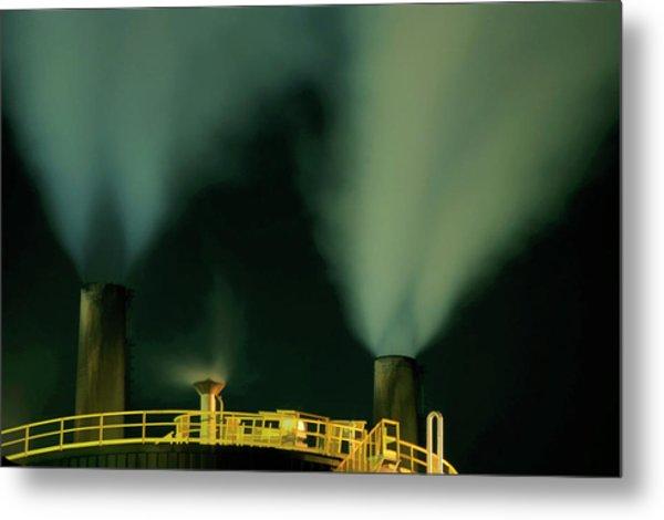 Petroleum Refinery Chimneys At Night Metal Print by Sami Sarkis