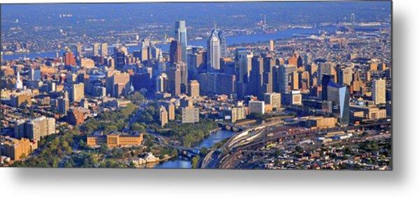 Philadelphia Museum Of Art And City Skyline Aerial Panorama Metal Print